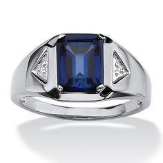 PalmBeach Platinum over Silver Men's Sapphire and Diamond Accent Ring - Overstock™ Shopping - Big Discounts on Palm Beach Jewelry Men's Rings