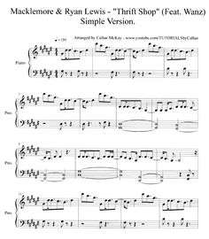 Thrift Shop Alto Sax Sheet Music | Thrift Shop - Macklemore & Ryan Lewis | PrintPiano: Free Music Sheets ...