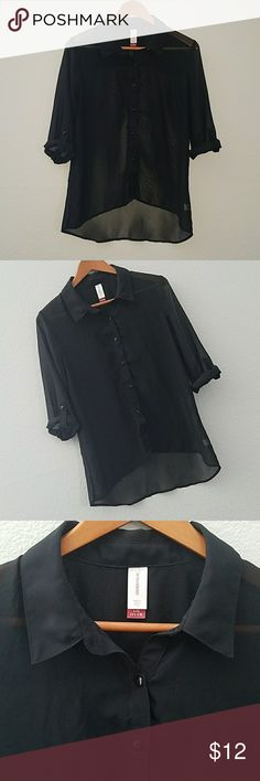 Black sheer button up No Boundaries size large black sheer button up shirt. Please have buttons to roll up or leave down. Shirt is in fabulous condition no holes or stains. Coming from a pet free smoke-free closet. Visit my closet and save money when you bundle🤑🤑🤑 Tops Blouses