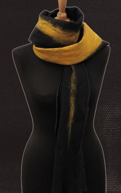 Black and Saffron felt scarf from sLOWLAB FIRENZE F/W 2016 collection.