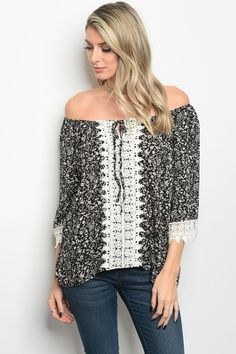 a6fe929ac8553 Off shoulder long sleeve print top with crotchet detail