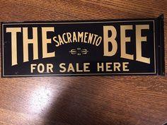 Vintage Rare Double Side Metal Flange Sign Advertising SACRAMENTO BEE Sold Here  | eBay