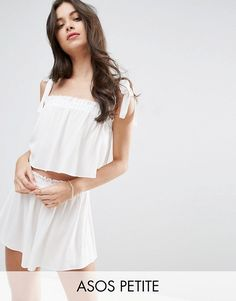 ASOS PETITE white Beach Top and Short Co-ord with Frill Edge