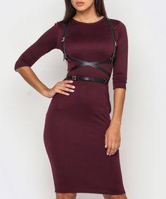 Burgundy harness bodycon dress Sale - MOLEGI Sale