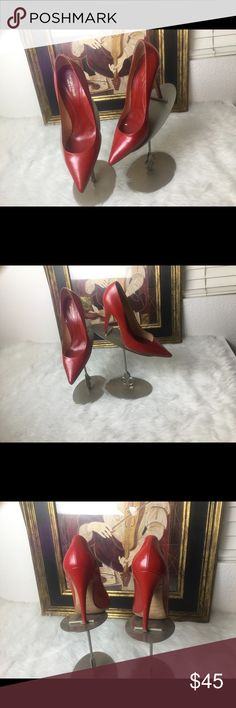 "Sergio Rossi Red High Heel Shoes.  Sz 41. Sergio Rossi Red High Heel Shoes.  Sz 41.  Heel height 4"" in good shape.  These are gorgeous major designer shoes for a great price! Sergio Rossi Shoes Heels"