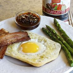 Here's a great weekend breakfast recipe that Oh So Easy. BACON, EGG & ASPARAGUS with Red Bell Pepper Ancho Chili Jam