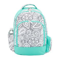 Free Shipping !! Parker Paisley Monogram Grey and Mint Backpack Back To School Girls Backpack Book bag by CentralBoutique on Etsy