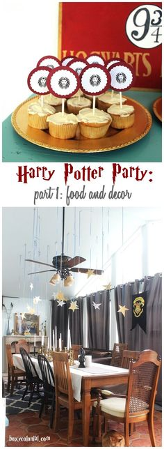 "Harry Potter Arrival at Hogwarts Party with DIY cupcake toppers and ""Great Hall"" decorations"