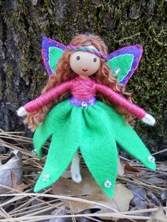 Handmade Miniature Green Flower Fairy Princess Doll – Wildflower Innocence Toys