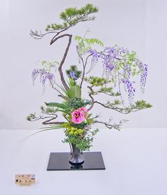 Ikenobo, Rikka-style floral arrangement: pine, wisteria, peony