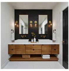 Bathroom Cabinets For Sale, Black Tile Bathrooms, Slate Bathroom, Guest Bathrooms, Mini Bad, Contemporary Bathroom Designs, Contemporary Baths, Master Bath Remodel, Bathroom Renos