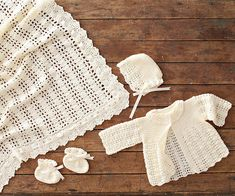 Lacy Crocheted Baby Outfit free patterns! This cream-color outfit is perfect for a boy or girl. Crochet the jacket, bonnet, and booties using our free instructions. Skill Level: Easy Size 3 mos. Finished Measurements Jacket: Chest = 19 inches; Length = 10 inches Bonnet: Circumference = 15 inches Bootie: Length = 3-3/4 inches Yarn Baby from Bernat (art. 163021) 100% acrylic; 1-3/4 oz. (50 g); 286 yds. (262 m); baby weight. 2 balls #21008 Antique White Hook & E...