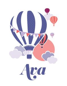 Hot Air Balloon 11x14 Baby Name Nursery Art  ///  by Kindertype, $34.00  #nursery #hotairballoon #babynameart