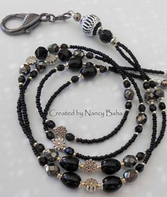 Beaded ID Badge Lanyard Id Badge Holder Black Id by nancybaha
