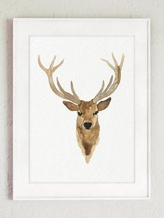 Canvas Deer Head Watercolor Painting Giclee Fine Art Print, Antlers Brown Caramel Black Bedroom Illustration, Stag Drawing Animal Wall Decor