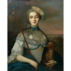 Manner of Jean Marc Nattier   18th Century   Portrait of a Noble Lady as a Pilgrim to Santiago de Compostela with Her Dog