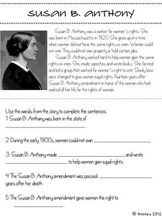 Create a mini-book about Susan B. Anthony | Women's History ...