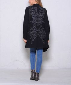 Another great find on #zulily! Black Embroidery Drape-Front Open Cardigan #zulilyfinds