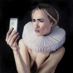renaissance woman ironic golden age millstone collar art painting  Frank E Hollywood oil on canvas