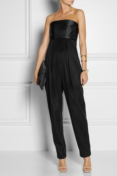 THE ROW Topa silk-satin and cashmere jumpsuit