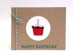 Cupcake Birthday Card - Birthday Card for Him - Birthday Card Boyfriend - Husband Birthday Card - Happy Birthday Card - Sweet Birthday Card