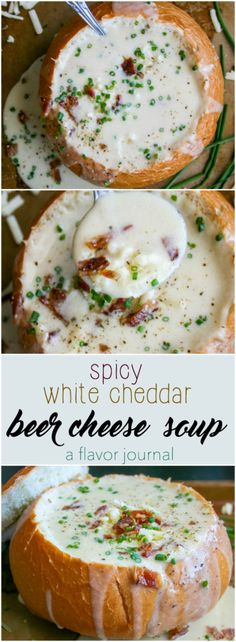 creamy, rich, decadent beer cheese soup made with white cheddar and a little heat. the ultimate comfort food soup in a bread bowl. | spicy white cheddar beer cheese soup | a flavor journal spicy white cheddar beer cheese soup http://aflavorjournal.com/spicy-white-cheddar-beer-cheese-soup/