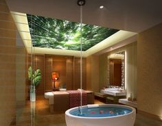 Love the ceiling in this spa treatment room- it all looks so relaxing!