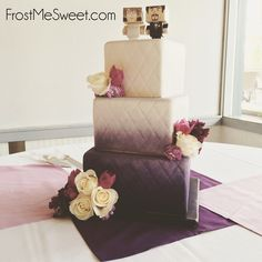 Wedding Modern — Frost Me Sweet ombre purple square wedding cake quilted