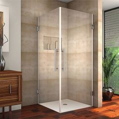Features:  -Finished walls are required for accurate shower opening width measurement.  -Framed glass corner-opening design.  -Full length magnetic door latch for water tight closure.  Product Type: -