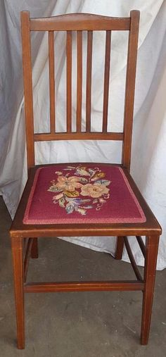 Gorgeous Antique Victorian Side Chair - Embroidery Upholstery - EXQUISITE INLAYS #Victorian