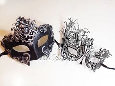 Elegant Black Themed Half Mask Masquerade Party - Couples Masquerade Collection    Pricing is for both phantom (male) and laser cut (female) masks!