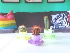 Thrifted coffee cups, some spray paint (Montana Gold) and som cactuses made this cute centerpiece. More on instagram emmarockem
