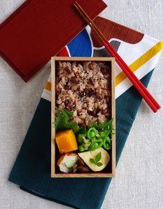 Sekihan, azuki beans rice bento/お赤飯弁当