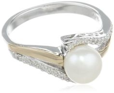 S&G Sterling Silver and 14k Yellow Gold 7mm Freshwater Cultured Pearl and Diamond Ring (0.07 cttw, I-J Color, I3 Clarity), Size 7 | GlobalFeri.com Fine and Fashion Jewelry