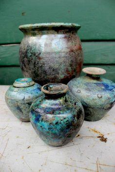 Wheel thrown vases. Raku fired