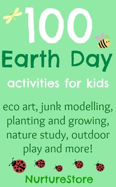 100 ideas for Earth Day: April Eco art, junk modelling, planting and growing, nature study, outdoor play and more! Earth Day Activities, Nature Activities, Spring Activities, Preschool Activities, April Preschool, Educational Activities, Junk Modelling, Earth Day Crafts, Nature Crafts