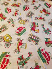 Vintage 1950's Feedsack ORIGINAL CONDITION - Novelty Fabric Transportation