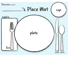 Placemat Table Setting Craft - make my own template with the Grace Before Meals prayer