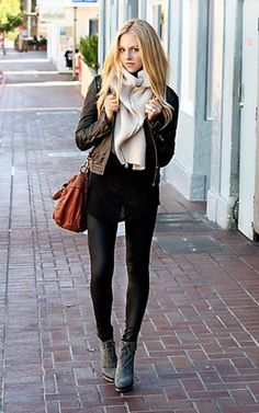 Fall - Basic Black Tank with Brown Biker Jacket and Beige Scarf | Leather Leggings and Lt Grey Booties and Lt Brown Messanger Bag