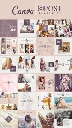 Modern and fashionable templates for accounts that want to announce a sale without compromising their brand image.I've prepared a total of 52 templates, 24 square and 28 rectangular sizes for use on Instagram, Twitter, Pinterest, etc.This totally editable social media template is perfect for savvy business owners on a budget looking to brand themselves professionally.This template pack works for both free and pro-Canva users. Social Media Template, Social Media Design, Advertising Sales, Instagram Accounts, Instagram Posts, Text Animation, Simple Designs, Free Design