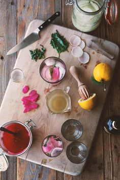 Gin Kimchi - Gin, Lemon Juice, Ginger-Honey Syrup (Recipe), Ginger Beer, Pickled Ginger (Recipe), Pickled Daikon (Recipe), Shiso Leaves.