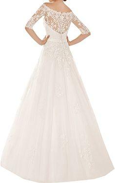 49d740aa8d1915 Ivydressing Romantisch Neu Spitze Band Schleife Hochzeitskleider  Brautkleider Lang mit 3/4 Arm-48