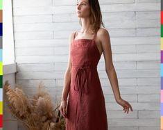 Caitlin King on Etsy Linen Tunic Dress, Linen Blouse, Linen Dresses, Linen Apron, Shirt Dress, Oeko Tex 100, Boho, Wrap Dress, Bridesmaid Dresses