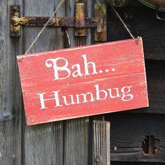 'bah humbug' christmas sign by rose cottage | notonthehighstreet.com