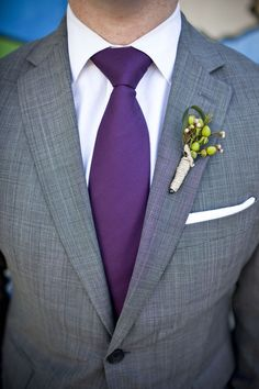 The men bought grey suits and I provided the purple ties.
