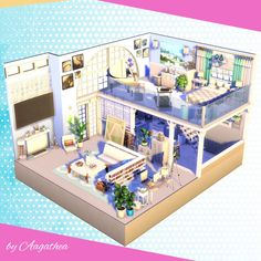 The Sims 4 creations by agathea Sims Building, Building A House, Sims 4 Loft, Sims 4 House Plans, Sims 4 Bedroom, Sims 4 House Design, Casas The Sims 4, Sims 4 Build, Sims 4 Houses