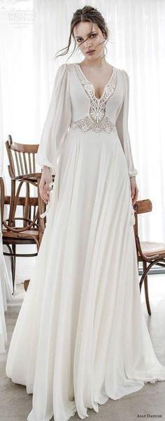 V Neck Weeding Dress,Long Sleeve Weeding Dress,Lace Chiffon Prom Dress - Wedding Gowns Platform Boho Wedding Dress, Bridal Dresses, Wedding Gowns, Prom Dresses, 2017 Wedding, 2017 Bridal, Lace Wedding, Gothic Wedding, Wedding Shoes