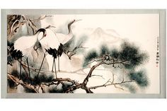 Japanese Watercolor Crane | Japanese Crane with Chinese Pine by tboonip1