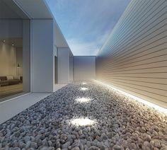 moderne garten landschaftsbau bilder ideen kies bodenleuchten grau
