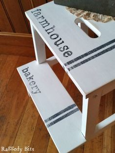 Do you have a scuffed Ikea Stool hanging around in need of some love? Let me show you how to give it a new lease on life | Full tutorial Farmhouse Bakery Ikea Stool Makeover | www.raggedy-bits.com